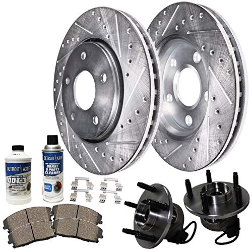 - Detroit Axle - Pair Front Wheel Bearing Hub Assemblies and Drilled and Slotted Disc Brake Rotors w/Ceramic Pads Kit for 2006 2007 2008 2009 2010 2011 Chevy HHR (rear drum models)