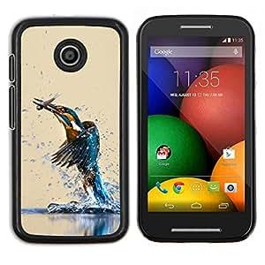 EJOOY---Cubierta de la caja de protección para la piel dura ** Motorola Moto E ** --Pájaro del martín pescador y FISH