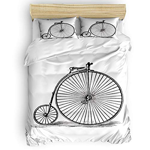 COVASA Luxury 4-Piece Bedding Set Old Retro Bicycle Duvet Covers Set Duvet Cover Bed Sheet Pillow Cases Black and White Full Pattern ()