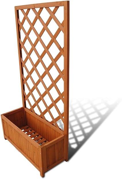Maceta rectangular de madera para jardín con celosía para ...