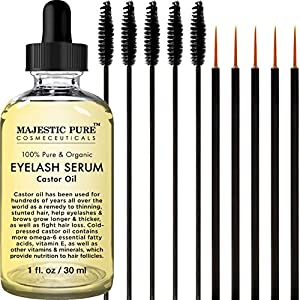 Majestic Pure Castor Oil for Eyelashes Growth Serum, Pure and Organic, Promotes Natural Eyebrows & Eyelash Growth,Free Set of Mascara Brush and Eyeliner Applicator - 1 fl Oz