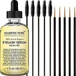 Majestic Pure Castor Oil for Eyelashes Growth Serum, Pure and Organic, Promotes Natural Eyebrows & Eyelash Growth, 1 fl oz - Free Set of Mascara Brush and Eyeliner Applicator