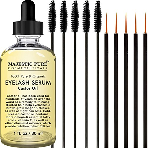 Follicle Enhancer (Majestic Pure Castor Oil Eyelash Serum, Pure and Organic, Promotes Natural Eyebrows & Eyelash Growth, Free Set of Mascara Brush and Eyeliner Applicator - 1 fl oz)