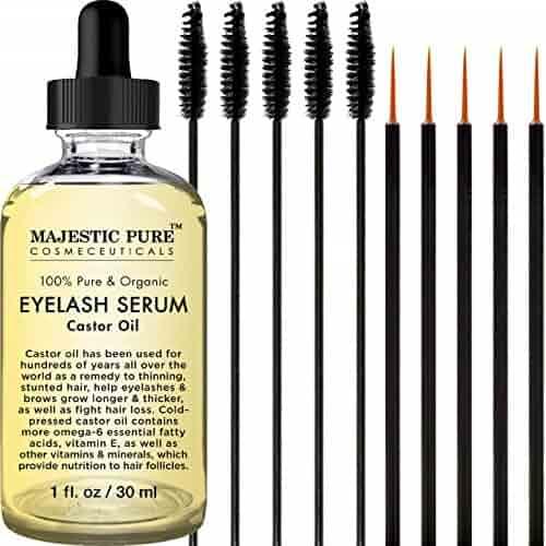 Majestic Pure Castor Oil Eyelash Serum, Pure and Organic, Promotes Natural Eyebrows & Eyelash Growth, Free Set of Mascara Brush and Eyeliner Applicator - 1 fl oz