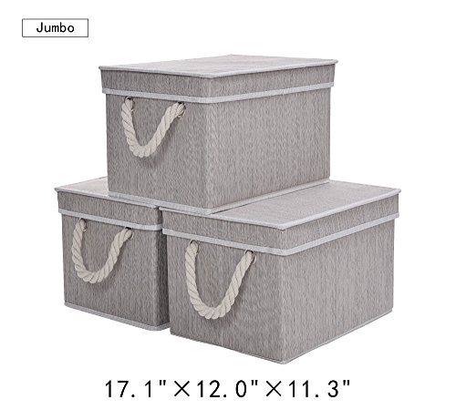 Storage Box with Lid, Strong Foldable Basket Organizer Bin With Cotton Rope Handle By StorageWorks, Gray, Bamboo Style, Jumbo, 3-Pack