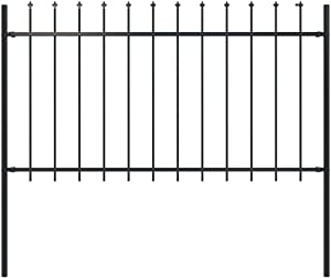 """Unfade Memory Garden Fence Panels Picket Fencing with Spear Top, Temporary Fencing & Barriers Steel (66.9""""x39.4"""")"""