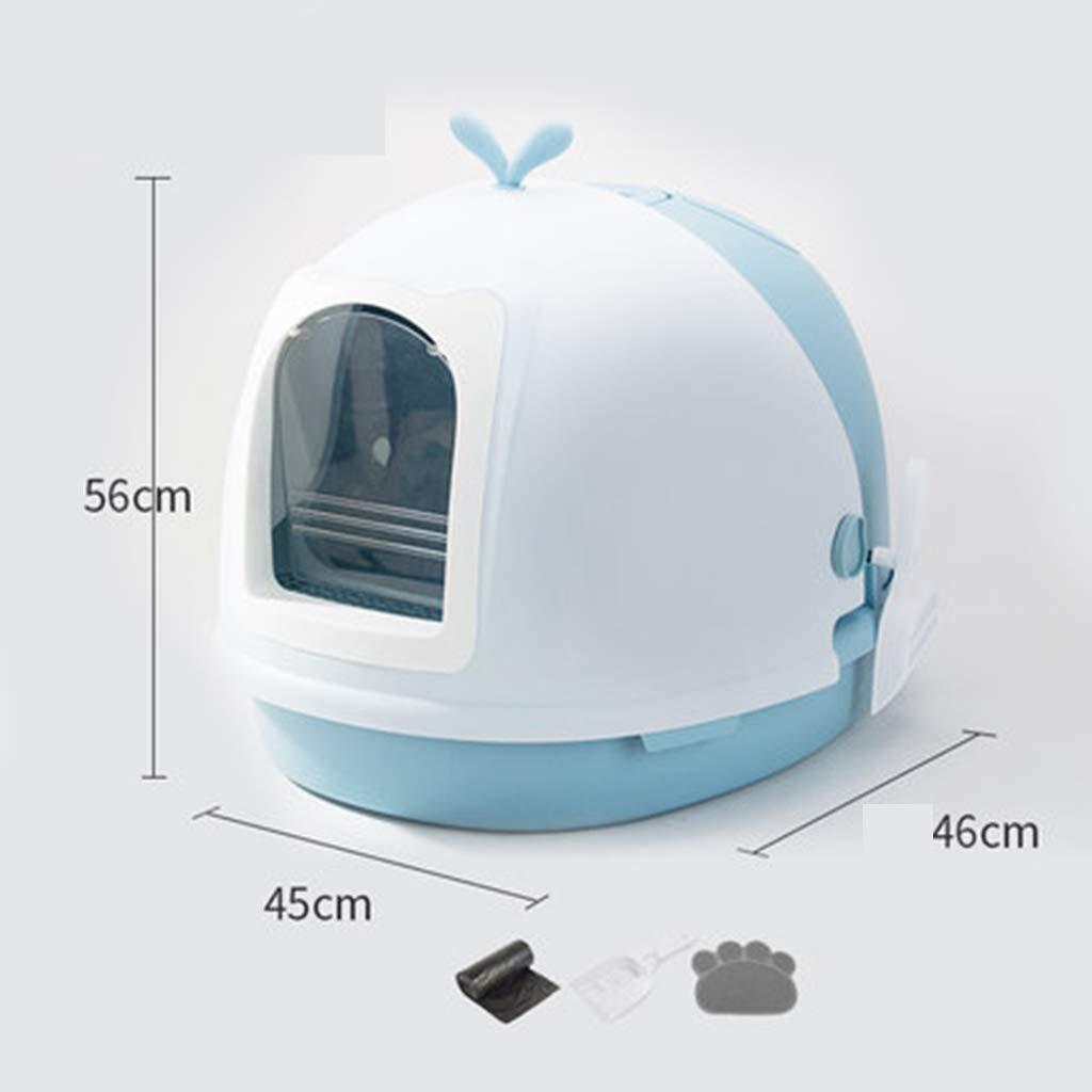 Blue Wcx Cat Litter T , Large Deodorization Semi -closed Splash Prevention Flip Cover Cats Toilet Pet Supplies (colore: Blue)