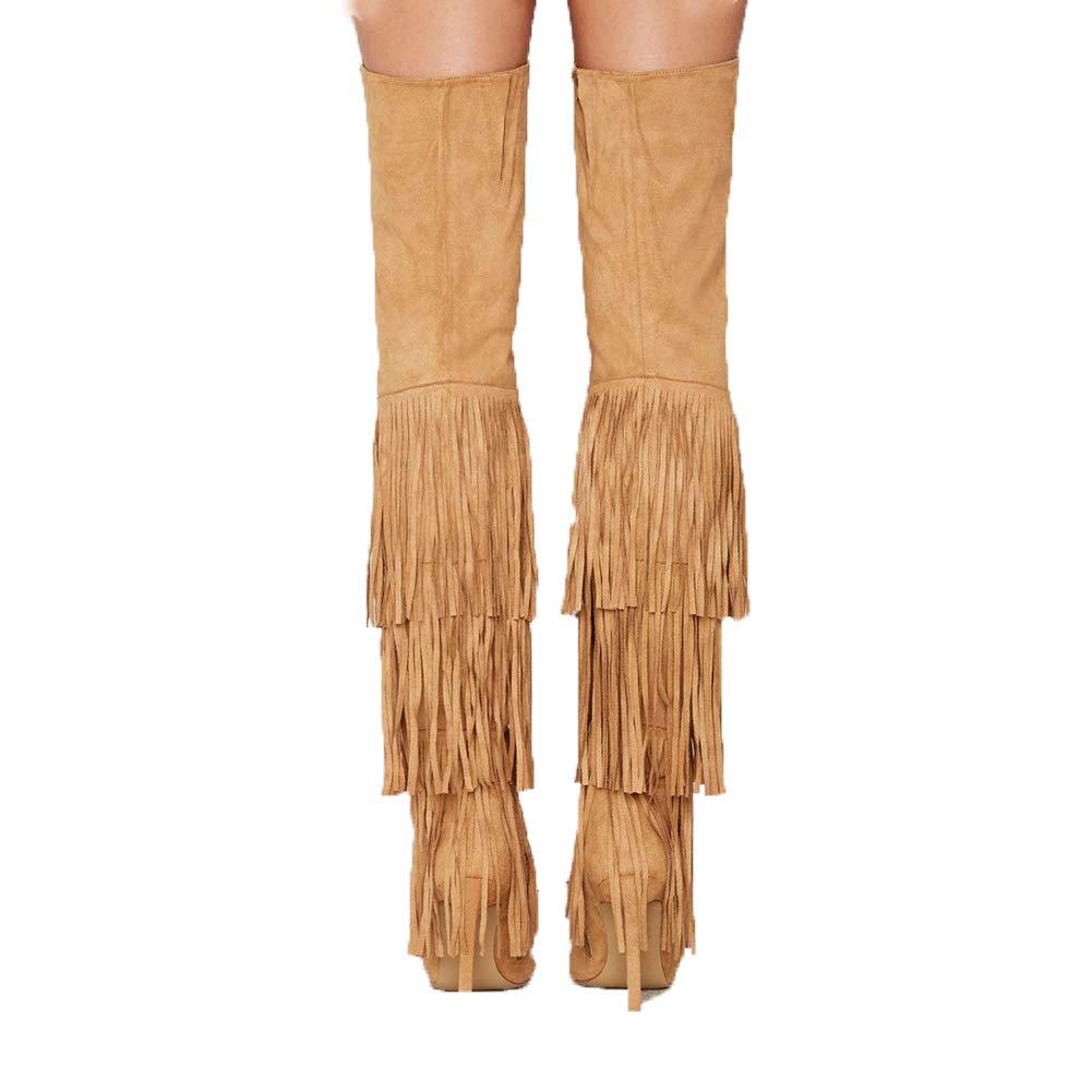 WHL.LL Frauen Spitze Schlanker High Heel Über Über Heel Den Kniestiefeln Überlagerung Quaste Hoher Absatz Stretch-Stiefel Knie Hohe Stiefel (Absatzhöhe  12Cm) 789753