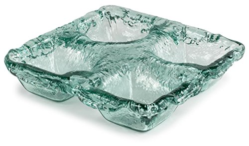 100% Recycled Glass Textured 4-Dip Bowl - 11''Lx11''Wx2.25''H by Traders and Company