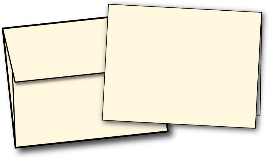 "4 1/4"" x 5 1/2"" Heavyweight Blank Cream/Natural Greeting Card Sets - Desktop Publishing Supplies, Inc. Brand - 40 Cards & Envelopes"