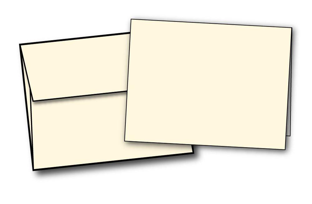 4 1/4'' x 5 1/2'' Heavyweight Blank Cream/Natural Greeting Card Sets - 40 Cards & Envelopes - Desktop Publishing Supplies, Inc.™ Brand