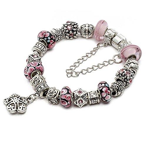 [RUBYCA Silver Tone European Charm Bracelet 7.9