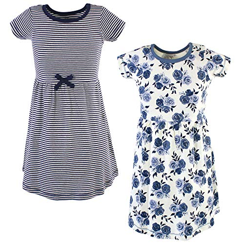 Touched by Nature Baby Girl Organic Cotton Dresses, Navy Floral Youth Short Sleeve 2 Pack, 6 Years