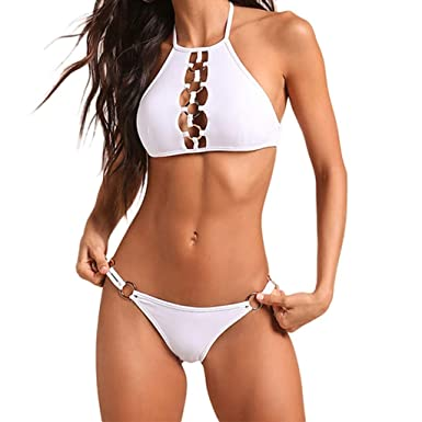 631568ab69b48 Amazon.com  Mnyycxen New Womens Solid Padded Push up 2 Piece Bikini Sets  Tankini Top Triangle Swimsuit T-Back V Style Bottom  Clothing