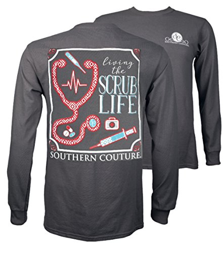 Southern Couture SC Classic Living the Scrub Life on Long Sleeve Womens Classic Fit T-Shirt - Charcoal, Medium (Reviews Show Christmas Southern)