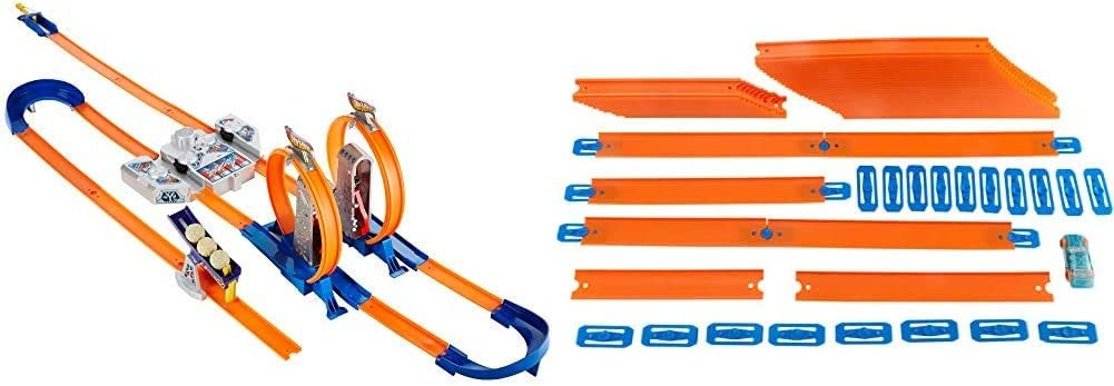 Hot Wheels Track Builder Total Turbo Takeover Track Set [Amazon Exclusive] & CAR & MEGA Track Pack