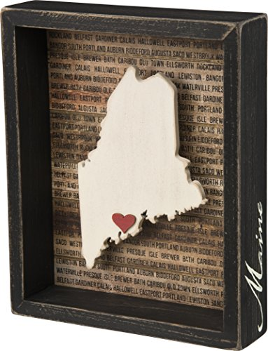 Maine State Shape Box Sign Primitives by Kathy (State Themed Gifts)