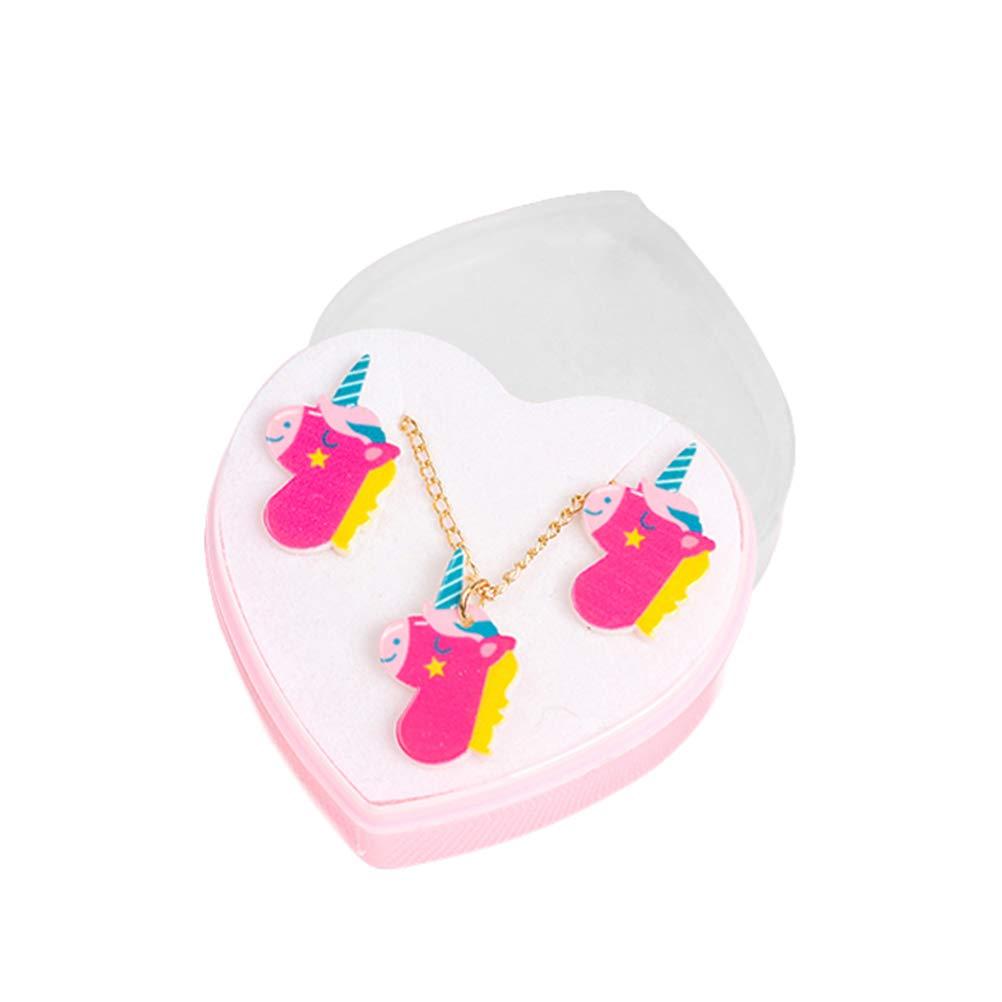9b34daebad61 FENICAL Conjunto de aretes de collar de unicornio Juego de aretes de  animalitos de dibujos animados Juego para niñas de niños bebés (color al  azar)  ...