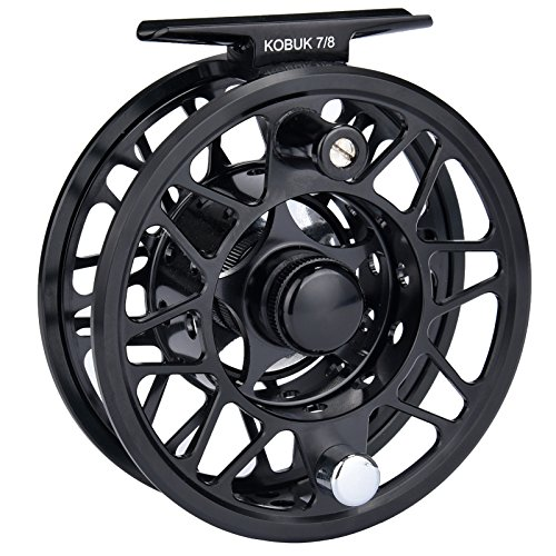 KastKing Kobuk Fly Fishing Reel with Large Arbor, CNC machined T6061 Aluminum Alloy Body and Spool in Fly Reel Sizes 3/4, 5/6, 7/8, 9/10 – Light Weight yet Incredibly Strong (Black, Kobuk-3/4 Reel) (Trout Ross Reel)