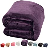 King Size Bed Blanket Set Shilucheng Luxury Fleece Blanket Super Soft and Warm Fuzzy Plush Lightweight King Couch Bed Blankets - Purple