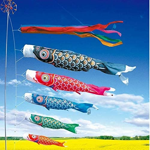 恋和風党旗カラフルなカープ風ソックス魚アニメフラグハンギングデコレーション GBYGDQ (Color : Red)