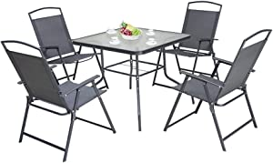 Pellebant 5PCS Patio Dining Set with Square Glass Table and 4 Folding Chairs for Garden, Pool, Backyard, Outdoor, Indoor, Park, Patio, Poolside, Gray