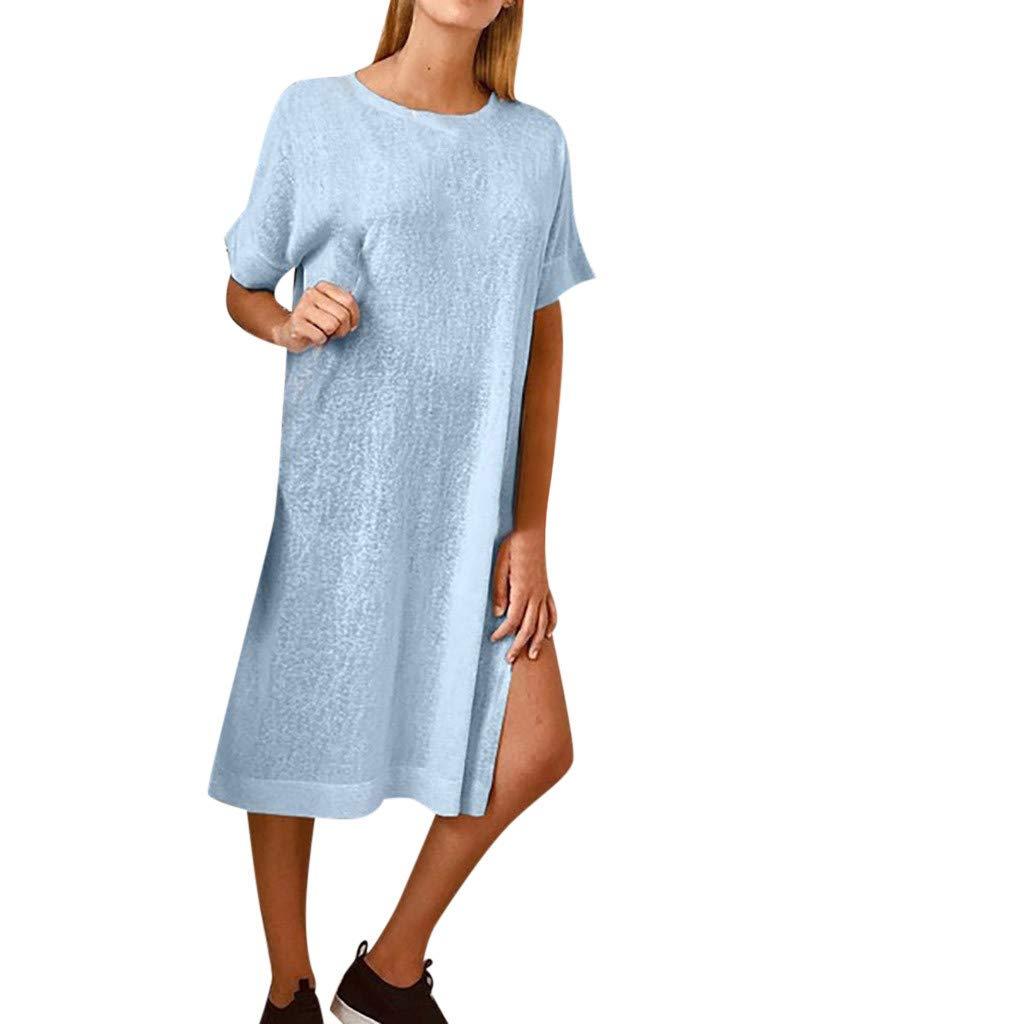 Womens Summer Loose Dresses Casual Plain Side Split Solid Short Sleeve Maxi Dress (Blue, XL)