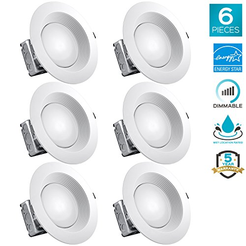 Ic White Baffle Sloped Trim - Luxrite 8 Inch LED Recessed Lighting Kit with Junction Box, 25W, 3000K Soft White, Dimmable LED Downlight, 2000 Lumens, 120V-277V, Airtight & IC Rated, Wet Location, ETL and Energy Star (6 Pack)