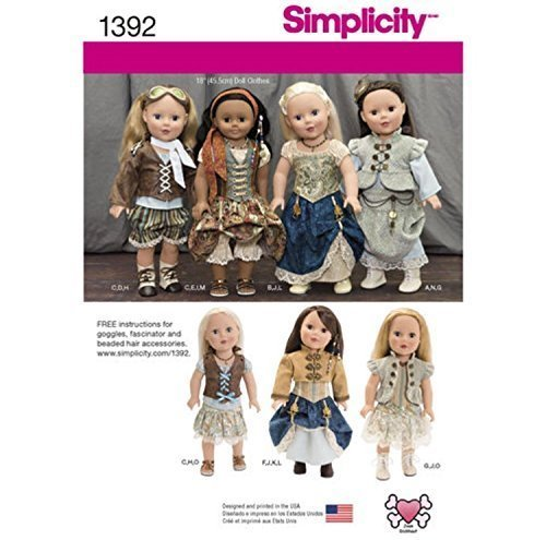 Simplicity Creative Patterns 1392 Steampunk Costume for 18-Inch Doll Doll Wardrobe Pattern