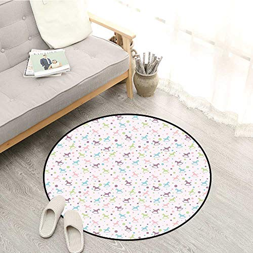 Toy Horse Non-Slip Rugs Rocking Horse Motif Colorful Composition Dotted Background Children Plaything Non Toxic Carpet 4'11
