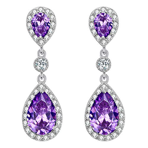 EleQueen 925 Sterling Silver Full Prong Cubic Zirconia Birthstone Teardrop Bridal Dangle Earrings Amethyst Color]()