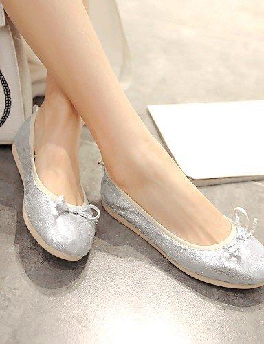 Plata 5 de us7 Eu38 Zapatos Flats Redonda Cn38 Uk5 Silver De Sintética Casual Talón Mujer 5 Plano Punta oro Pdx Piel gfn7dfH