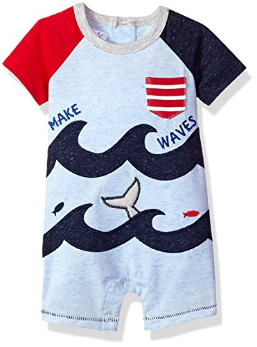 Mud Pie Baby Boys Ocean Waves Short Sleeve Raglan One Piece Playwear, Blue, 9-12 Months