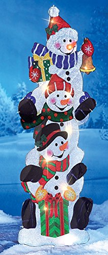Lighted Stack Snowmen Outdoor Garden