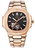 HUBOLER Men's Automatic Self-wind Mechanical Rose Gold Case Blue Dial Wrist Watch H013 … (black1)