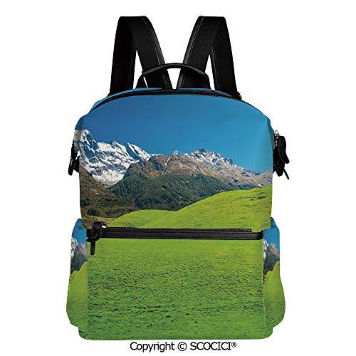 SCOCICI Stylish Bookbags Child Back to School Gift,Idyllic Hills Mountain Land Farm New Zealand Snowy Peaks Spring Landscape,L11.4xW6.3xH15 Inches