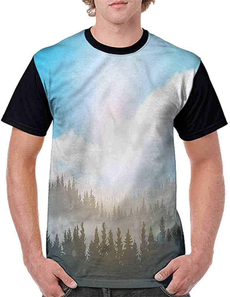 BlountDecor Performance T-Shirt,Hazy Mountain Evergreens Fashion Personality Customization