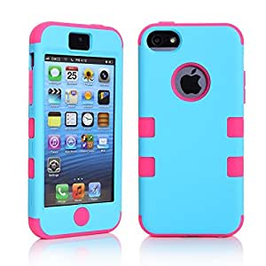 ATQ A PC + TPU Fashion Contrast color style design Hybrid Impact Armored Hard Case for Apple iPhone 5C with Screen Protector(Blue & Rose)