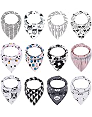 iZiv Baby 12 Pack Bandana Drool Bibs with Adjustable Snaps, Absorbent Soft Cotton Lining 0-2 Years
