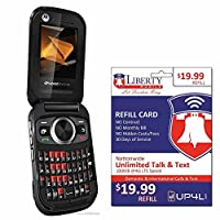 Liberty Mobile Motorola Rambler Prepaid Flip Phone with 1 month of service Unlimited Talk/Text - Simple Flip QWERTY Keyboard Phone with minutes included No Contract Prepaid Cell Phone Cellphone