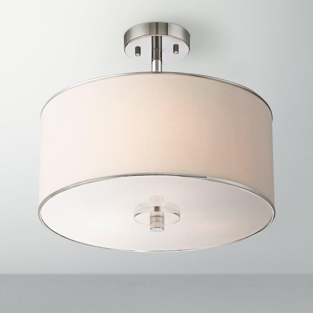 Elsa 15 12 wide white fabric shade ceiling light amazon mozeypictures Choice Image