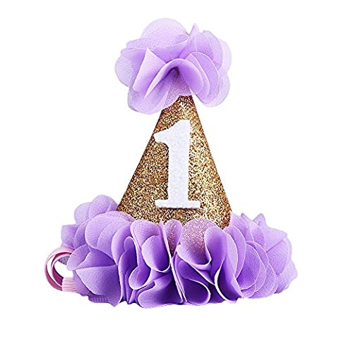 Meiyiu Adorable Glitter Headband For Baby Gold First Birthday Party Cone Hat With Purple Flowers & Digital 1 Super Cute