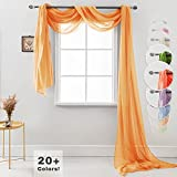 """Semi Sheer Luxury Scarf Window Decor Modern Classic Outdoor Home Design Light Penetrating Provide Privacy Soft Durable Polyester Easy Upkeep add to Curtains Drapes (Scarf 54"""" x 216"""" Papaya)"""