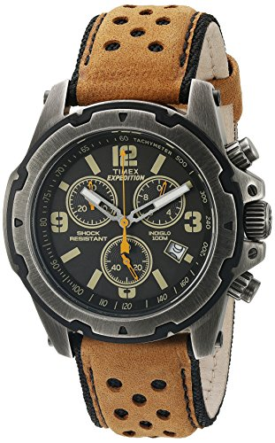 Timex Men's Expedition Sierra Tachymeter Shock-Resistant Leather Strap TW4B01500 (Watches Timex Atomic)