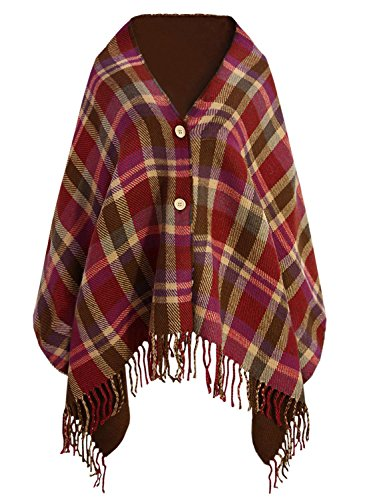 Doballa Women's Plaid Pattern Tassel Button Down Poncho Cape Cardigan Wrap Shawl