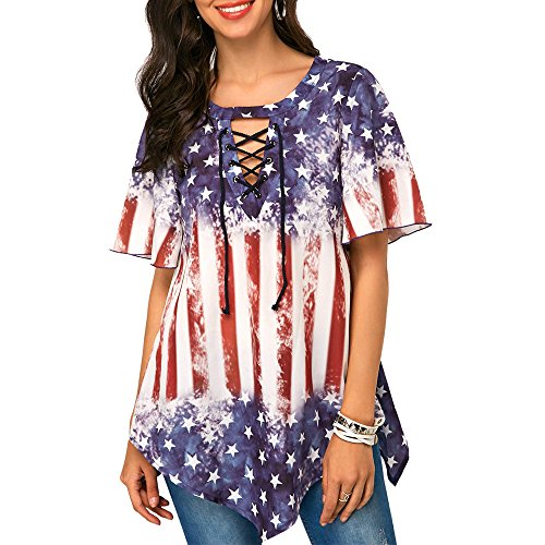 Londony Women's Summer Lace Up Star and Stripe Print Short Sleeve Tops Asymmetrical Hem Casual Blouse (Blue❤️, M) -
