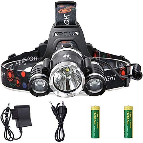 iSeaFly Head Lamp, 4 Modes, Motion Sensor Switch, 90 Rotatable, 2 Powerful 18650 Rechargeable Batteries LED Headlamp Flashlight, Waterproof Hardhat Headlamp LED Rechargeable