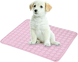 Volwco Dog Cooling Mat, Self Cooling Pad for Dogs and Cats, Ice Silk Material Dissipates Heat Away from Your Pet, Breathable, Non Toxic, Skin-Friendly, Keep Pet Cool