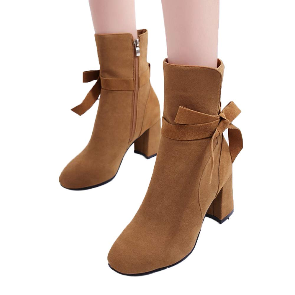 Boots For Women, HOT SALE !! Farjing Ankle Boot Platform High Heels Bow zipper Shoes Short Boot Casual Shoes(US:7,Brown )