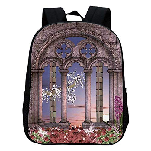 - Gothic Fashion Kindergarten Shoulder Bag,Ancient Colonnade in Secret Garden with Flowers at Sunset Enchanted Forest For Hiking,One_Size
